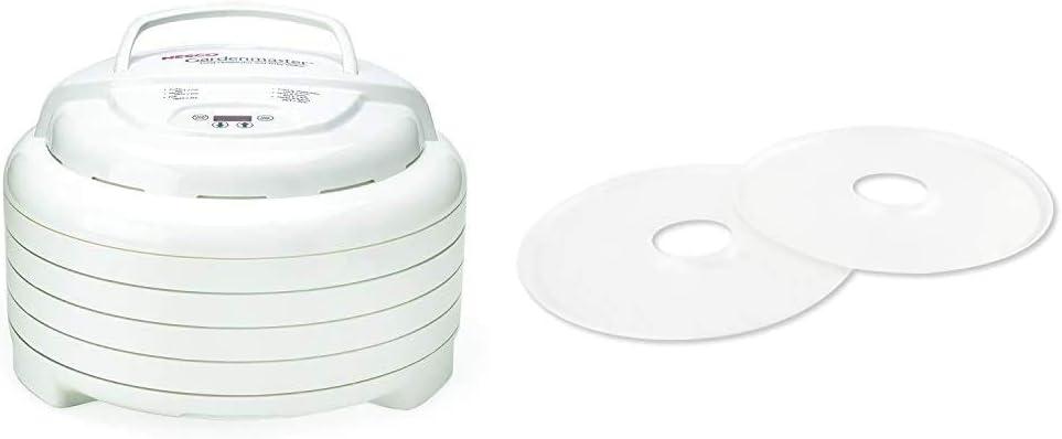 Nesco Gardenmaster Food dehydrator, White & SLD-2-6, Fruit Roll-Up Sheet for Dehydrators FD-1010, FD-1018A, FD-1040, FD-80, FD-80CN, Set of 2, White