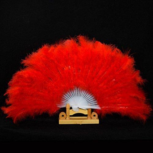 Hand Fancy Fan, Wedding Showgirl Dance Elegant Large Feather Folding Hand Fan Decor Decal,Tuscom (Red)