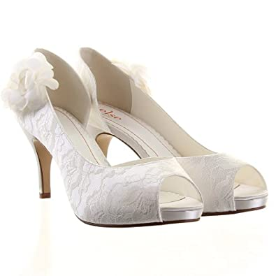 Else By Rainbow Club Gala Lace Wedding Shoes Ivory UK 5 EU 38
