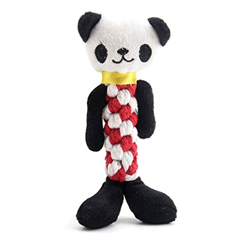 Plush Squeaky Dog Toys, Durable Soft Interactive Dog Chew Toys with Rope Resistant to chew for Teeth Cleaning and Playing - Panda Dog Toy