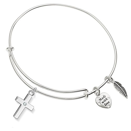 Enni of York Cross with Crystal Silver-Tone Expandible Wire Bangle Bracelet