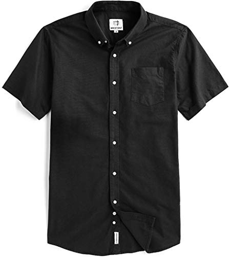 Men's Short Sleeve Oxford Button Down Casual Shirt Black Small