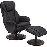 Comfort Chair Java Leather Swivel, Recliner with Ottoman