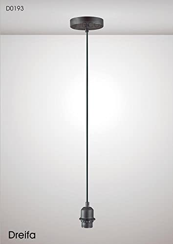 Dreifa 1.5m Suspension Kit 1 Light BlackBlack Cable, E27