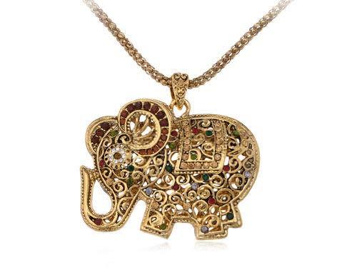 Womens Golden Tone Black Rhinestones Exotic Snake Pendant Necklace Fashion Gift