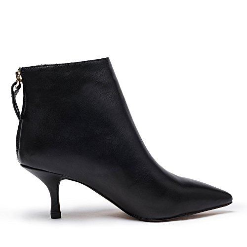 Mid Booties Kitten Toe Zip Shoes amp; Ankle Pointed Black Leather Gianni Ladies Darco Back Black Women's Boots Heel Short qTFzHFAxw