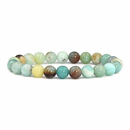 "Natural Multicolor Amazonite Gemstone 8mm Round Beads Stretch Bracelet 7"" Unisex"
