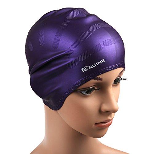 Andux Zone Bonnets de Bain en Silicone pour Cheveux Longs HEYM-01