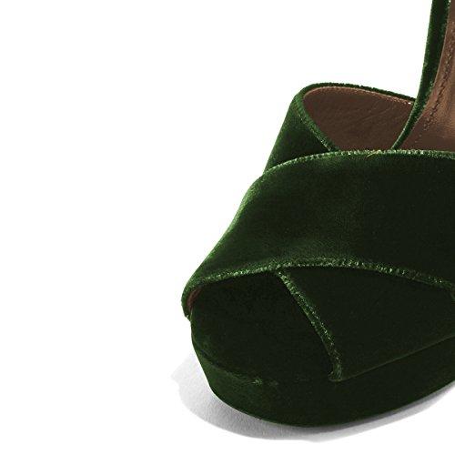 Dark Toe Velvet Strap Chunky Dress Heel Green Cross Sandals Shoes Slingback Platform Peep XYD Chic Pump qc61avwwI