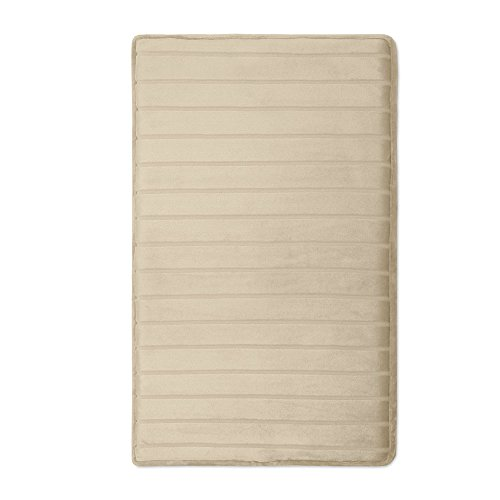 Microdry 10806 Memory Foam Softlux Skid-Resistant Bath Mat, 21 x 34, Canvas, 21x34, (Canvas Floor Mats)