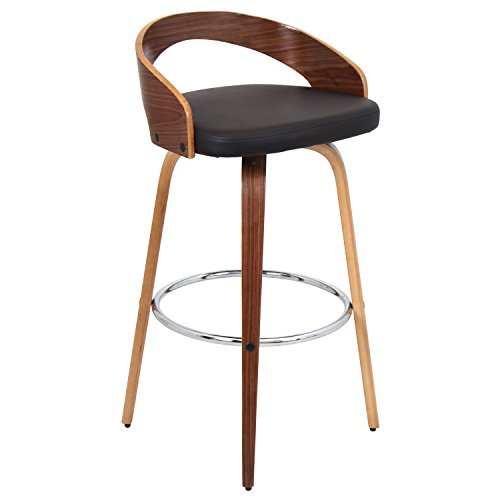 LumiSource BS-JY-GRT WL BN Grotto Modern Barstool, Walnut Brown