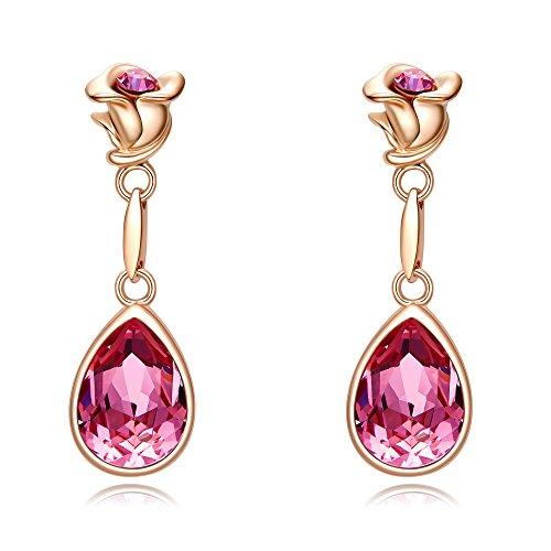 CDE Women's Earrings, Rose Teardrop Jewelry Dangle Earring with Swarovski Crystals,18K Rose Gold Plated