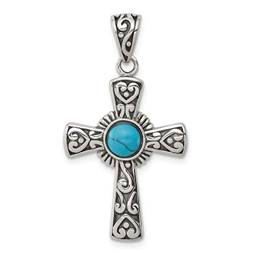 (925 Sterling Silver Recon Blue Turquoise Cross Religious Pendant Charm Necklace Fine Jewelry Gifts For Women For Her)