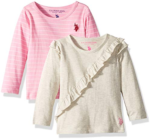 U.S. Polo Assn. Girls' Big 2 Pack T-Shirt Grey Ruffle Light Pink Stripe Multi, ()