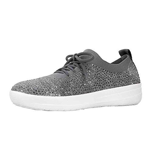 FitFlop Women's F-Sporty Uberknit Sneakers Charcoal/Dusty Grey 7.5 M US