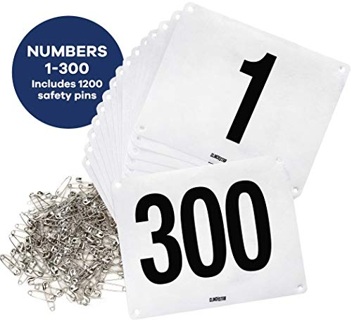 Clinch Star Running Bib Large Numbers with Safety Pins for Marathon Races and Events - Tyvek Tearproof and Waterproof 6 X 7.5 Inches (Numbers 1-300)