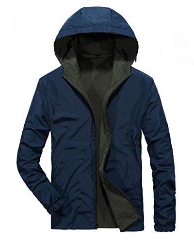 DAFREW Men's Jackets,Zip Hooded Casual Jacket Autumn and Winter Single Layer Casual Wear Wear On Both Sides (Color : Blue, Size : S) - Single Layer Jacket