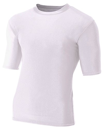 Sleeve Top 1/2 (A4 Men's Compression Crew 1/2 Sleeve, White, Small)
