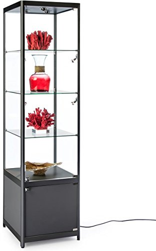 Displays2go, Tower Showcase with Lighting, Aluminum, Tempered Glass, Melamine Construction – Black Finish (ESC2020BKB) by Displays2go
