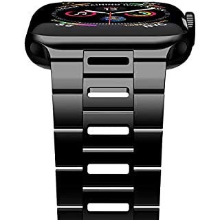 [New Version] iiteeology Compatible with iWatch Band 44mm 42mm, Ultra Thin Breathable Stainless Steel Band Strap Compatible with Apple Watch Series 5/4/3/2/1 Men Women - Black