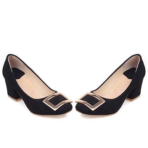 AllhqFashion Damen Nubukleder Rein Ziehen auf Quadratisch Zehe Mittler Absatz Pumps Schuhe Schwarz