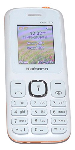 Karbonn K46 LED 1.8  Bright Display Digital Camera 1700 mAh Battery Dual Sim   White Orange