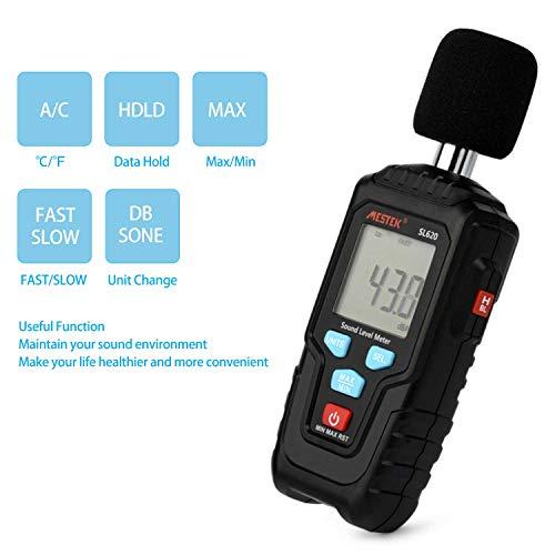 Decibel Meter Digital Sound Level Meter MESTKE 30 – 130 dB Noise Volume Measuring Instrument Reader Self-Calibrated Max Min Data Hold Fast/Slow Mode LCD Backlight Display/Flashlight by MESTEK (Image #5)
