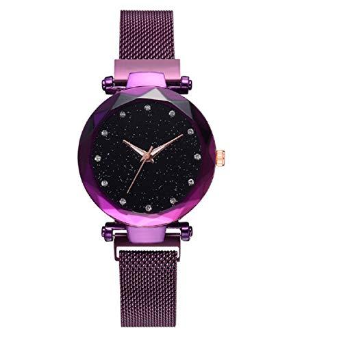 Dartphew Fashion Starry Sky Dial Quartz Mesh Belt Magnetic Buckle Ladies Watch with Box Watches Ultra Slim Wristwatch Casual Business Dress Watch Luxury Band Adjustable ()
