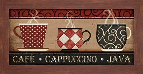 """Cappuccino Cafe by Jennifer Pugh - 20"""" x 40"""" Framed Giclee Canvas Art Print Walnut Finish - Ready to Hang"""