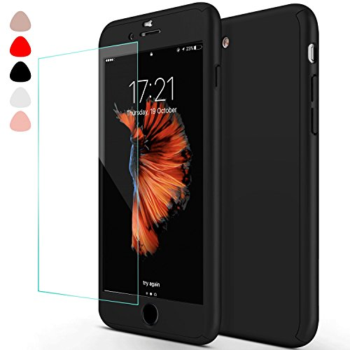 sxxissky iPhone 6 Case, Ultra-Thin Full Body Coverage Hard Hybrid Plastic with [Tempered Glass Screen Protector] Protective Case Cover & Skin forApple iPhone 6 /6S 4.7 Inch(Black) (Best Iphone 6 Skins)