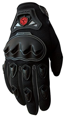 CRAZY AL'S MC29 Motorcycle Full-Finger Gloves Sporty Full-Finger Anti-Slip Motorcycle Gloves for SCOYCO Red Blue Black M/L/XL (XL, Black)