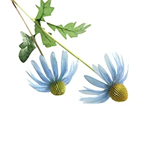 Leegor 1 Bouquet 2 Heads Real Touch Artificial Aster Chrysanthemum Fake Flowers Simulation Floral Home Wedding Decor Hotel Party Event Decorations Photography Show Props (light blue) 3