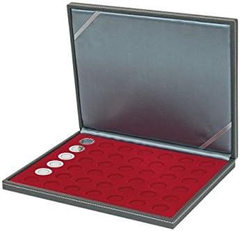 Estuche para monedas NERA M con plantilla para monedas en color rojo oscuro con 42 hoyos redondos para monedas con un diámetro de 27,5 mm, por ejem. para monedas alemanas de 5