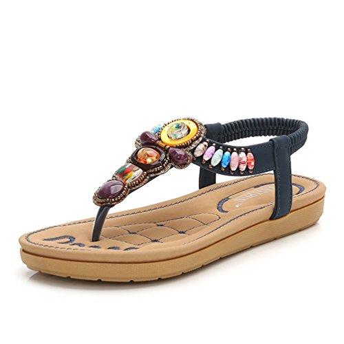 Sandales Ouvertes Plates Femmes Mode Loisir Chaussures Talon Sandale de Plage Confortable 35-41 Bleu NJIsSs4nl