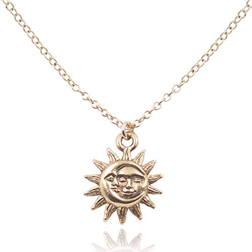 MaeMae Sun Moon Charm Pendant Necklace, 14K Gold Filled, - Affirmation Pendant