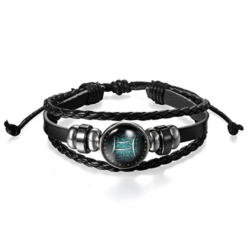 Young & Forever Men's Valentine Gemini Constellation Zodiac Good Luck Leather Bracelet by Young & Forever