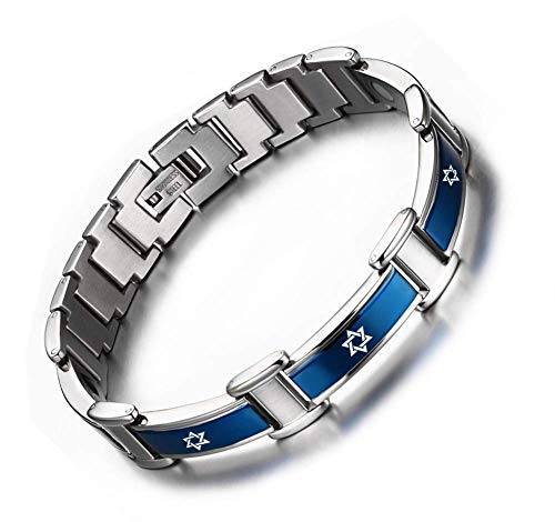 XUANPAI Stainless Steel Cool Two-Tone Jewish Jewelry Star of David Hexagram Magnetic Therapy Bracelet Amulet Gift