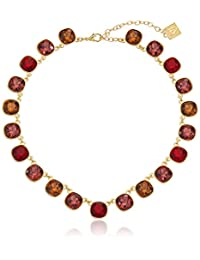 """Anne Klein Skyline Recolor Gold-Tone/Red Siam Collar Necklace, 16"""" + 3"""" Extender"""