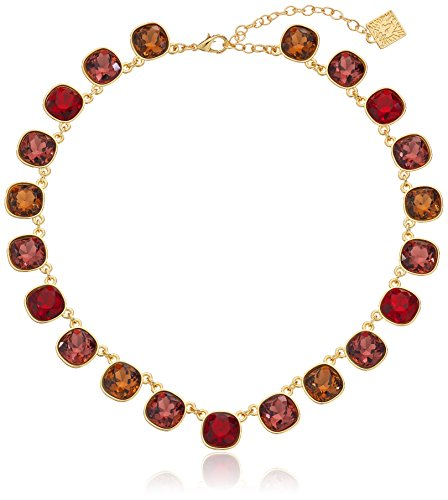 """UPC 642447069945, Anne Klein Skyline Recolor Gold-Tone/Red Siam Collar Necklace, 16"""" + 3"""" Extender"""