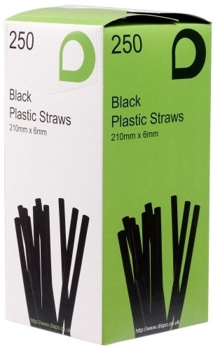 Thali Outlet - 1000 x 8 Black Jumbo Bendy Drinking Straws - 210mm x 6mm - (4x250 Pack) by Thali Outlet - Shopping Leeds Outlet