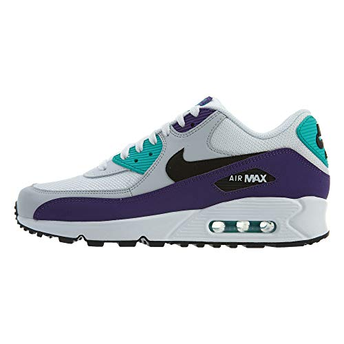 Nike Men's Air Max 90 White/Black/Hyper Jade/Court Purple Leather Casual Shoes 7.5 M ()