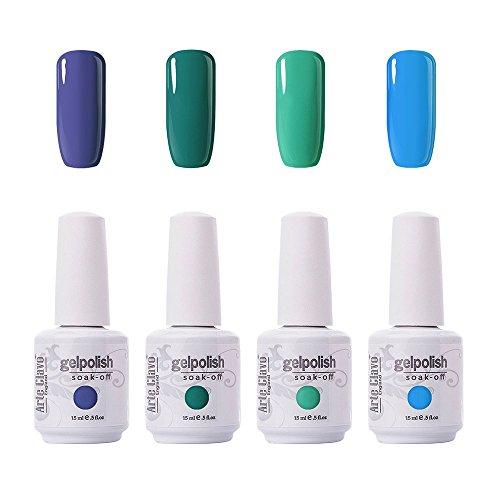 Piece 4 Nail Polish (Arte Clavo 15ml Varnish Soak Off UV Led Nail Gel Polish Nail Art Salon Set 17 of 4 Colors)