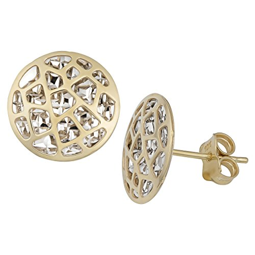 10k Two-tone Gold Cut-out Design Round Stud Earrings