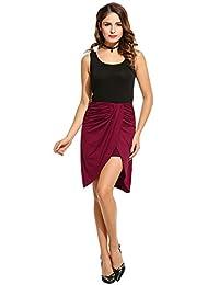 Zeagoo Women's Warp Front Draped Asymmetrical Hi Low Maxi Pencil Skirt