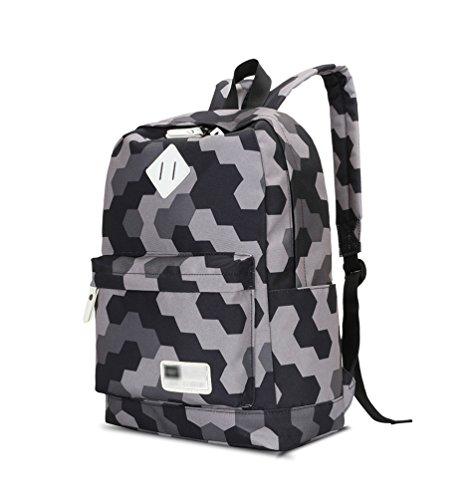 YoungSoul Bolsos mochila para Juveniles - Bolsas escolares de lona + Estuches + Bolso de teléfono móvil - Mochilas escolar grande Gris