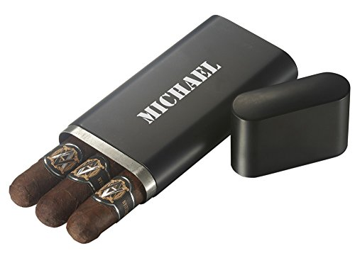 Personalized Prato Black Matte Stainless Steel 3 Finger Cigar Case with Free Laser Engraving for $<!--$24.99-->