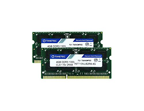 Mitac Pc Laptops (Timetec Hynix IC 8GB KIT (2x4GB) DDR3 1333MHz PC3-10600 Non ECC Unbuffered 1.5V CL9 2Rx8 Dual Rank 204 Pin Sodimm Laptop Notebook Computer Memory Ram Module Upgrade (Low Density 8GB (2x4GB)))
