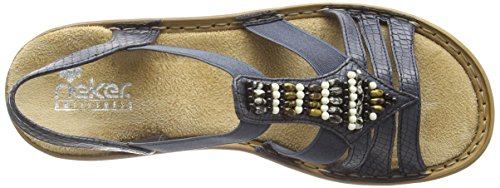 Rieker 62851 Women Open Toe - Sandalias Mujer Azul - Blau (ozean / 14)