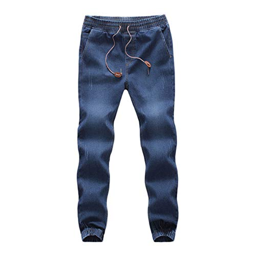 Clearance! Teresamoon Men's Casual Autumn Denim Cotton Elastic Draw String Work Trousers Jeans Pants