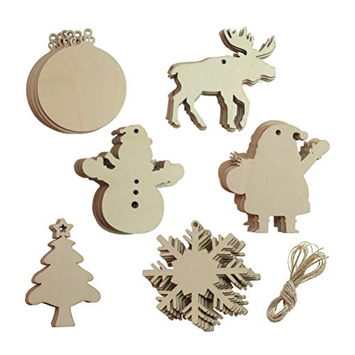 30 PCS Unfinished Wood Christmas Ornaments Wooden Christmas Tree Hanging Cutouts, Round Moose Deer Snowflake Snowman Tree, Wood Slices with Holes for Kids Craft, Christmas Party Decoration]()